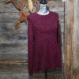 Wine colored fuzzy and soft sweater